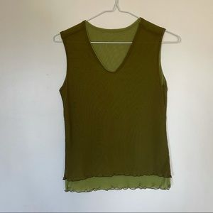 3/$30 green mesh double layered tank top small